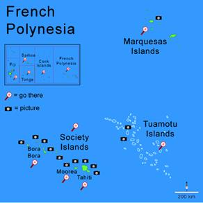 french polynesia map south pacific islands